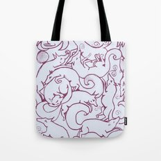 Fox Pattern Screen Print Tote Bag