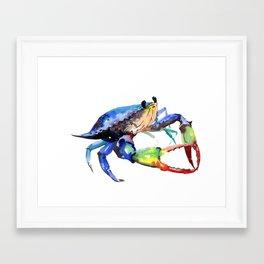 Crab, Sea World Rainbow Colors Beach Framed Art Print