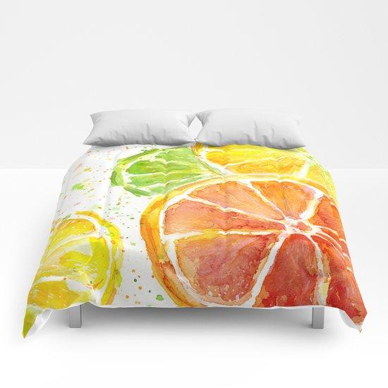 Fruit Watercolor Citrus Comforters