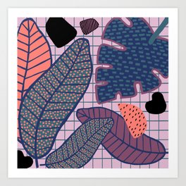 Palm & Monstera Leaves Art Print