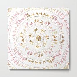 Kama Sutra Mandala Pink and Gold Metal Print