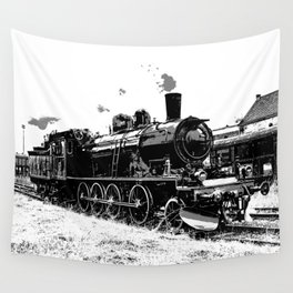 Riding the Rails - Vintage Steam Train Wall Tapestry