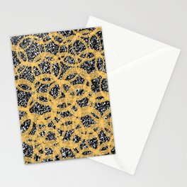 Abstract Beehive Yellow & Black Pattern Stationery Cards