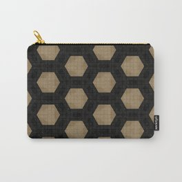 Textured Tan and Black Marble Geo Patterns Carry-All Pouch