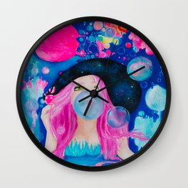 Blowing bubbles, blowing colors Wall Clock