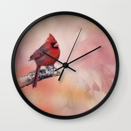 Male  Northern Cardinal perching on a branch Wall Clock
