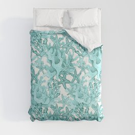 Star fish and coral reef in teal blue Comforters