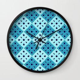geometric blue pattern Wall Clock