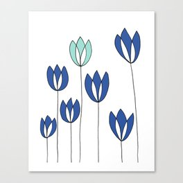 Drawing of Blue and Aqua Whimsical Tulips by Emma Freeman Designs Canvas Print