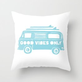 Good Vibes Only retro surfing Camper Van Throw Pillow