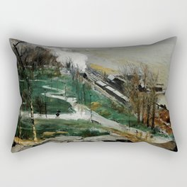 """George Wesley Bellows """"Rain on the River"""" Rectangular Pillow"""