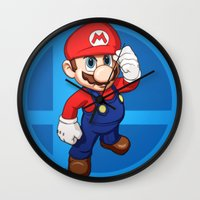 mario bros Wall Clocks featuring Mario by Ryan Ketley