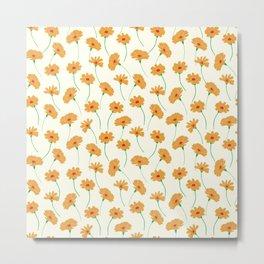 Mustard Summer Daisies Oil Floral Pattern Metal Print