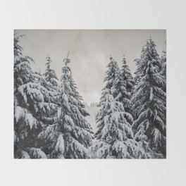 Winter Woods II - Snow Capped Forest Adventure Nature Photography Throw Blanket
