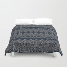 Silvery Striped Doodle Duvet Cover