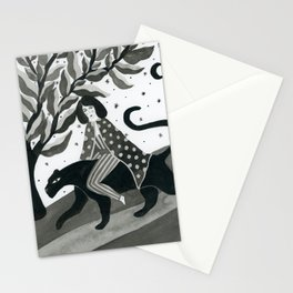 Casual walk with a panther Stationery Cards
