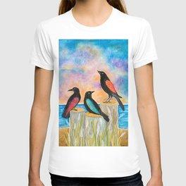 Three Crows at the beach T-shirt