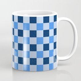 French Ocean Blue Checks Pattern Coffee Mug