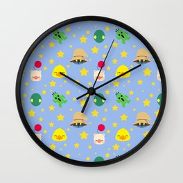 final fantasy pattern blue Wall Clock