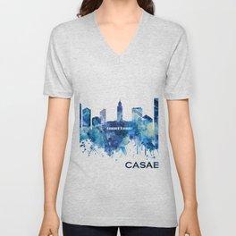 Casablanca Morocco Skyline Blue Unisex V-Neck