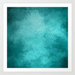 Textured limpet blue chevron pattern Art Print