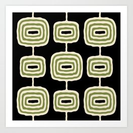 Mid Century Modern Atomic Rings Pattern 236 Black Beige and Olive Green Art Print