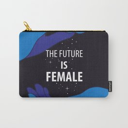 The Future is Female starry sky lettering with blue hands Carry-All Pouch