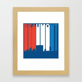 Red White And Blue Beaumont Texas Skyline Framed Art Print