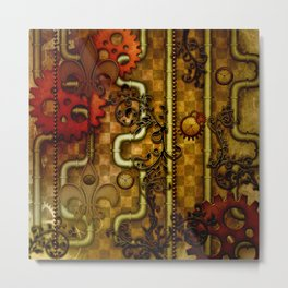 Noble Steampunk design, clocks and gears Metal Print