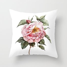 Wilting Pink Rose Watercolor Throw Pillow