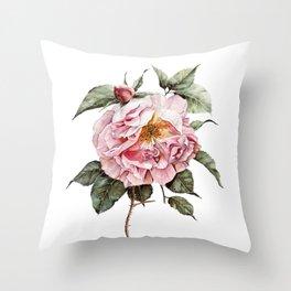 Wilting Pink Rose Watercolor Throw Pillow