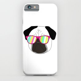 Pug,dog  with sunglasses illustration iPhone Case