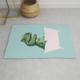 Playful T-Rex in Bathtub in Green Rug