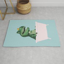 Playful T-Rex in Bathtub in Green Rug