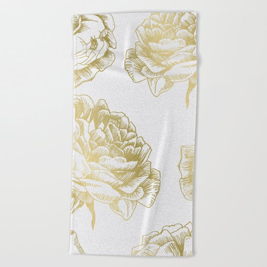 Gold Roses Beach Towel