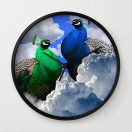 GREEN PEACOCK & BLUE PEACOCK CLOUDS MODERN ART Wall Clock
