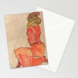 Egon Schiele - Kneeling Female in Orange-Red Dress Stationery Cards