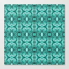 Teal & White Curly Spirals Canvas Print