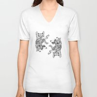 clockwork V-neck T-shirts featuring clockwork bear by vasodelirium