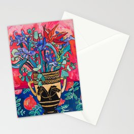 Persephone Painting - Bouquet of Iris and Strelitzia Flowers in Greek Horse Vase Against Coral Pink Stationery Cards