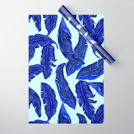 Banana leaves tropical leaves blue white #homedecor Wrapping Paper