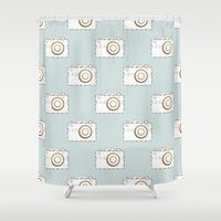 vintage camera Shower Curtains featuring Camera by Little Owl Oddities
