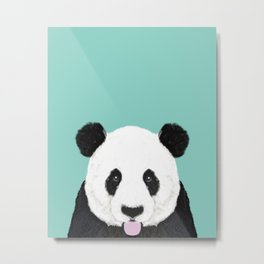 Panda - mint - cute black and white animal portrait,  design, illustration, animal cell phone, case, Metal Print