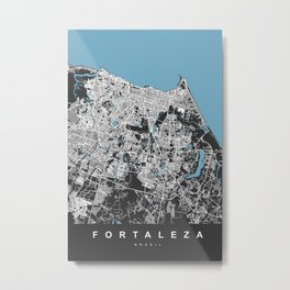 FORTALEZA City Map - Brasil | Black | More Colors, Review My Collections Metal Print