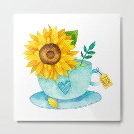 Sunflower Cup of Tea Metal Print