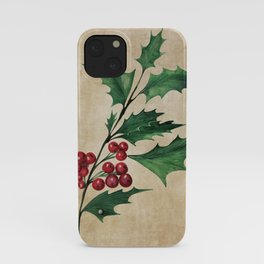 Vintage Holly Branch - Christmas Holiday iPhone Case