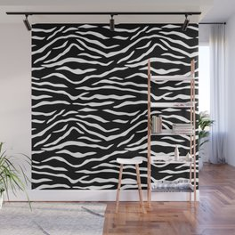 Black and White Jungle Big Cat Tiger Stripes Wall Mural