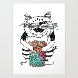 Emotional Cat. Playful. Art Print