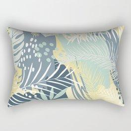Palms Prints, Yellow, Aqua and Blue, Botany Print Rectangular Pillow