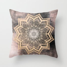 GOLD EARTH FLOWER MANDALA Throw Pillow